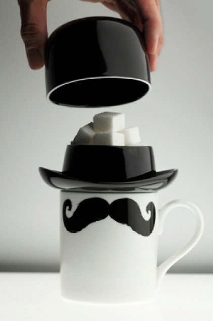 Mustache Bowler Hat Mug