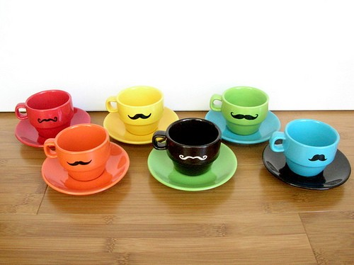 Mustache Coffee Cup Set