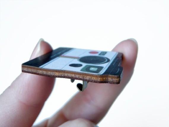 Polaroid Wooden Brooch