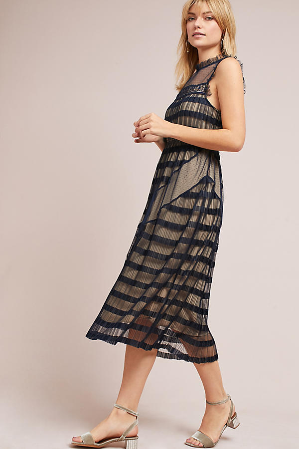 Anthropologie Petite Party Ruffle Midi Dress