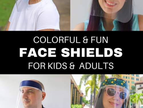 Colorful, Fun, and Stylish, Protective Face Shields for kids and adults to protect eyes, nose, and mouth