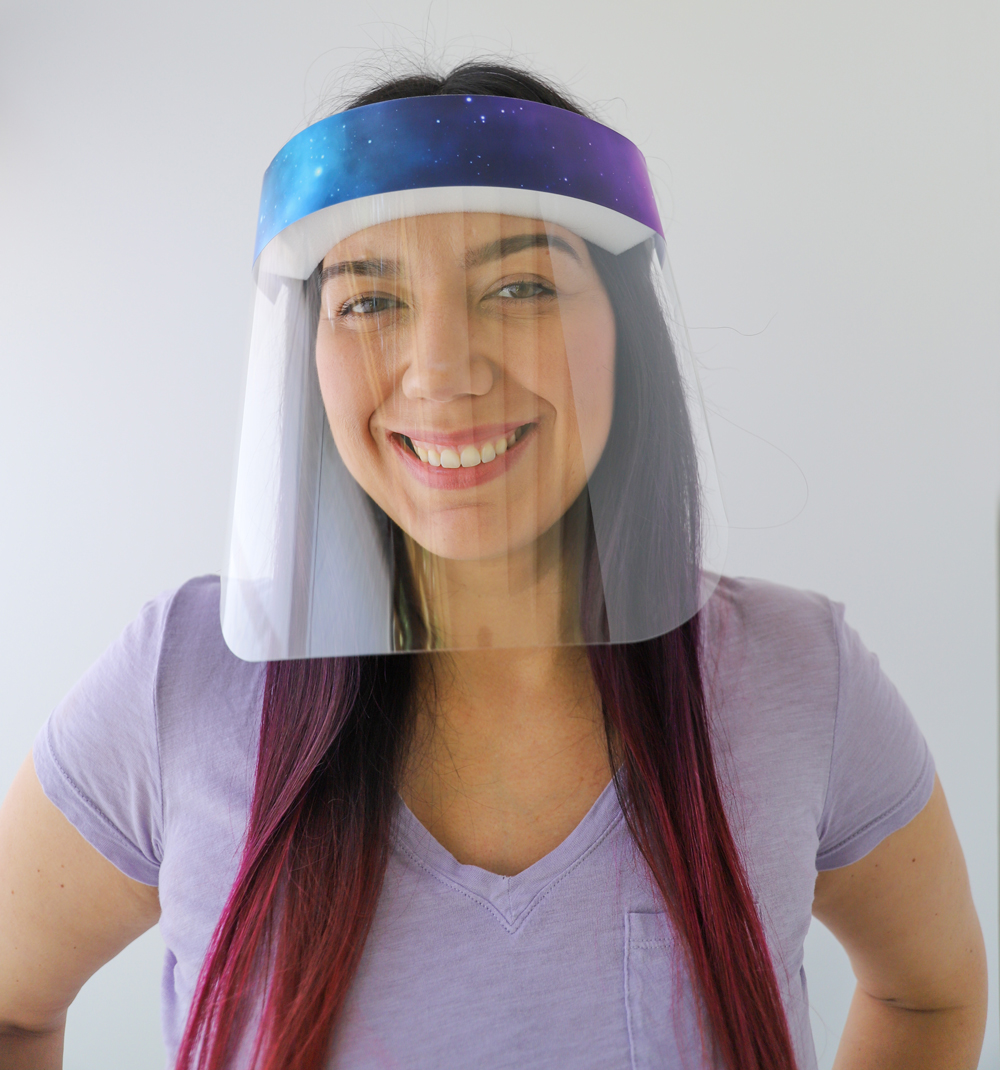 Galaxy Plastic Face Shield protects your eyes, mouth, and nose with style and fun