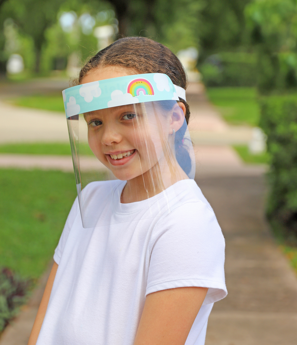 Kids Colorful & Fun Rainbow Plastic Face Shield protects eyes, mouth, and nose
