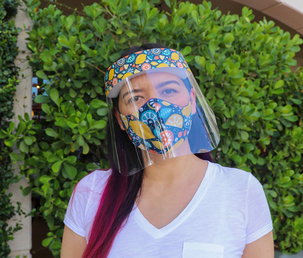 Matching Fruit Pattern Face Shield with Fruit Pattern Cotton Double Sided Washable Adult Face Mask,Breathable Reversible Mask,Handmade in USA Face Mask