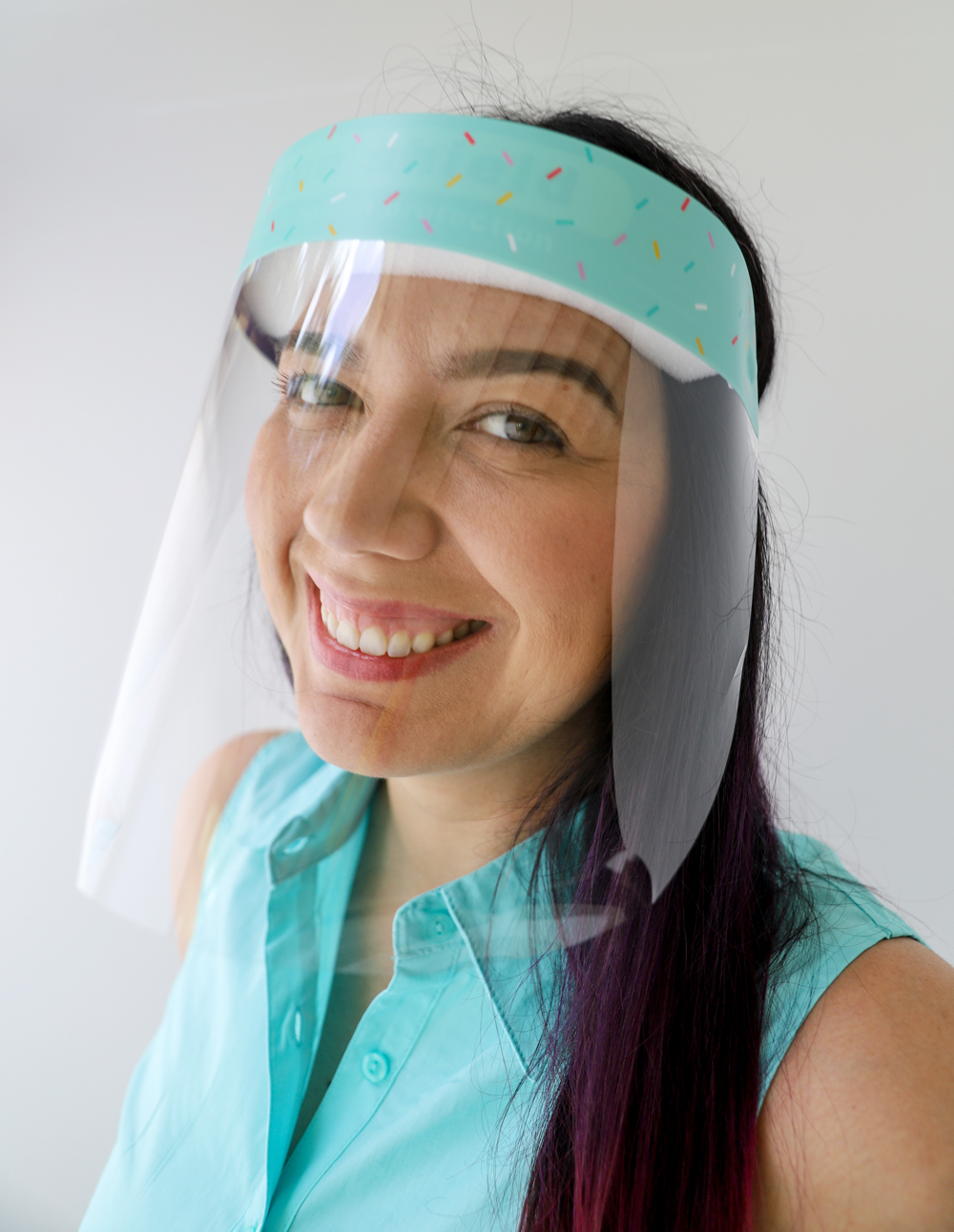 Sprinkles Plastic Face Shield protects your eyes, mouth, and nose with style and fun
