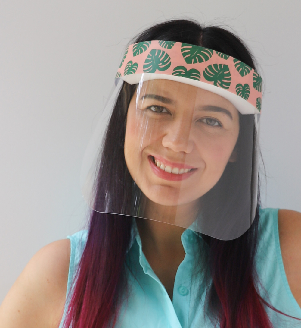 Monstera Leaves Plastic Face Shield protects your eyes, mouth, and nose with style and fun